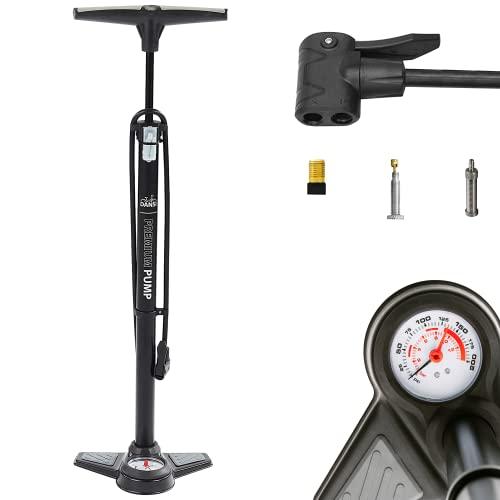 DANSI Standluftpumpe, mit Adapter, passend für alle gängigen Ventile, mit Manometer, ohne Druckablassventil
