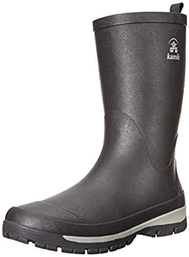 Kamik Men's Lars Rain Boots Black 11 & Knit Cap Bundle