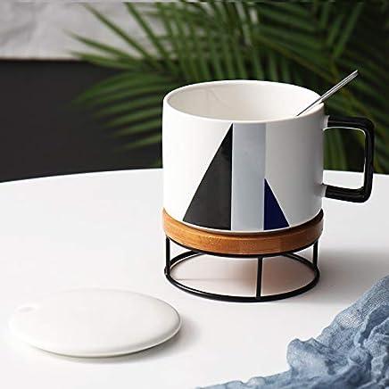 Preisvergleich für Becher Kaffeetassen Tassen Tasse Keramik Große Kapazität Nordischen Becher Büro Kaffeetasse Einfache Müsli Frühstück Tasse, Schwarz Grau Blau + Untersetzer
