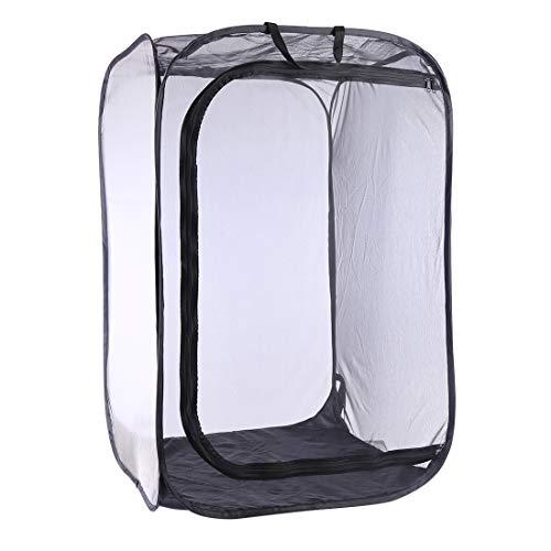 Poxl Insectes et Papillon Cage Noir Portable Cage à Insectes Mesh Habitat Terrarium Pop-up