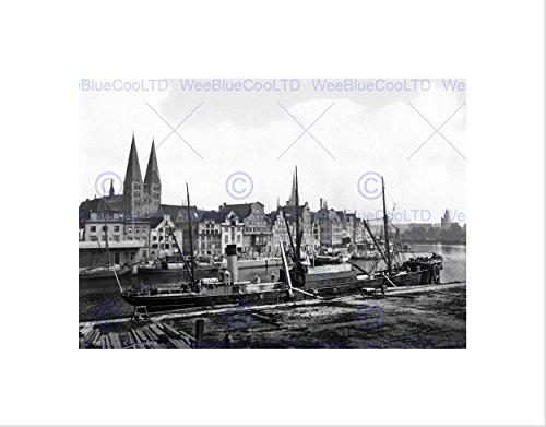 Wee Blue Coo Kunstdruck Luebeck Hafen 1900 Vintage Geschichte Old BW, gerahmt, Schwarz