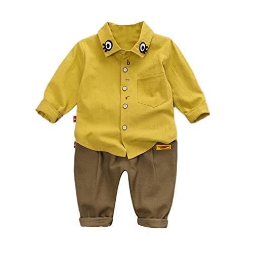 Gyratedream herfstaby-betoverende karikatuur-oog-druk-overhemd-blouse-broek-casual uitrustingskleding