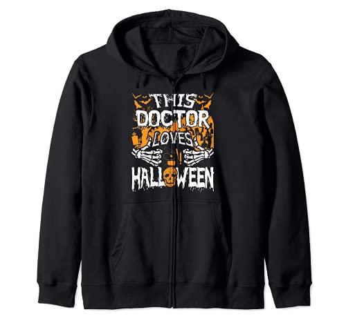 Este mdico ama Halloween Huesos Cirujano Divertido Mdico Sudadera con Capucha