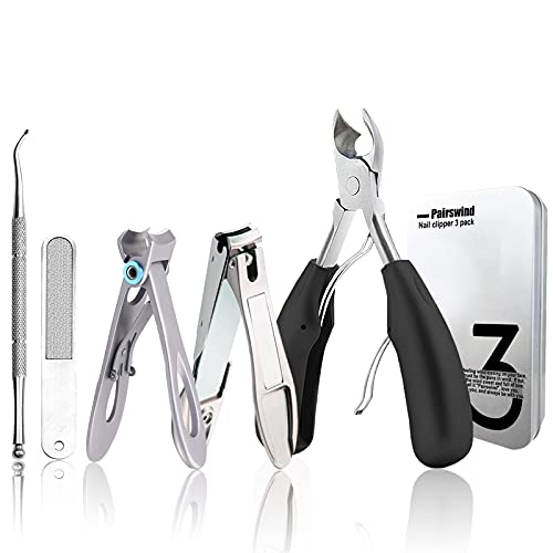 Thick Toenail Clippers, Mens Nail Clippers for Large Big Thick Nail and Toenail Senior Nail Clippers with Easy Grip Rubber Handle for Podiatrist/Ingrown/Seniors/Professional