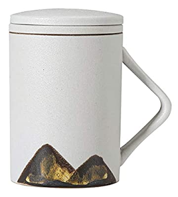 Tikusan Mug Japanese Style Pottery Teacup with Infuser and Lid 8.5 oz (250 ml) (White)