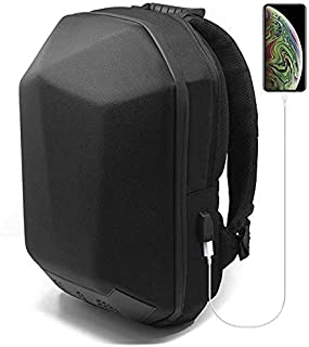 GDM Specter motorcycle backpack - speaker compatible hard shell water resistant gear bag with USB charging port