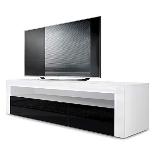 Mesa Baja para TV Valencia, Cuerpo en Blanco Mate/Frente en Negro de Alto Brillo con Marco en Blanco de Alto Brillo