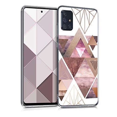kwmobile Hülle kompatibel mit Samsung Galaxy A71 - Handyhülle - Handy Hülle Glory Dreieck Muster Rosa Rosegold Weiß