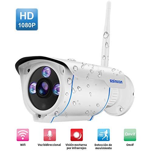 Telecamera IP di Sorveglianza,SZSINOCAM Videosorveglianza Esterno 1080P IP Camera Wifi IP66 con visione notturna, allarme di movimento, Audio a 2...