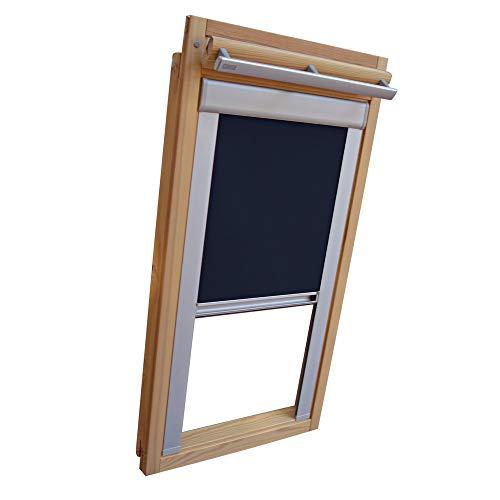 Verdunkelungsrollo THERMO Alu-Rückseite für VELUX Dachfenster TYP GGL/GPL - 306 oder M06 - Farbe Blau - mit Aluminium Seitenschienen - KLICK Montage