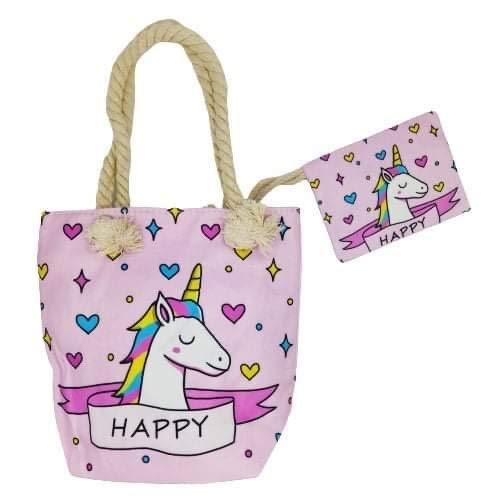 Goods4good Bolso Playa Piscina Unicornio Pequeño para Niña/Chica con Regalo Neceser/Monedero Color Rosa Asas Cremallera Regalo Verano (Rosa)