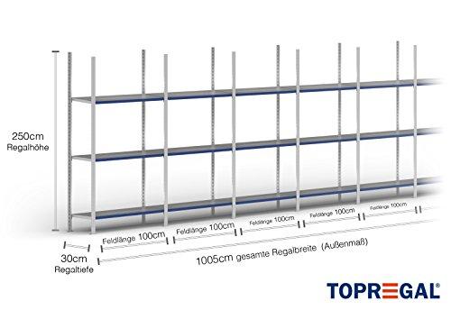 10m ordnerrek 200/250/300cm hoog, 30cm diep met 3-8 niveaus incl. stalen planken, belastbaar tot 200kg 10m × 250cm × 30cm (B×H×T), Ebenen: 3