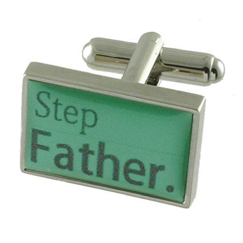 Select Gifts Beau-père de mariage vert menthe manchette Sterling Silver