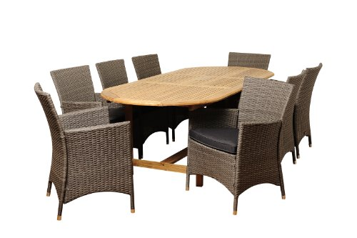 Amazonia San Diego 9-Piece Teak/Wicker Oval Extendable Dining Set with Grey Cushions
