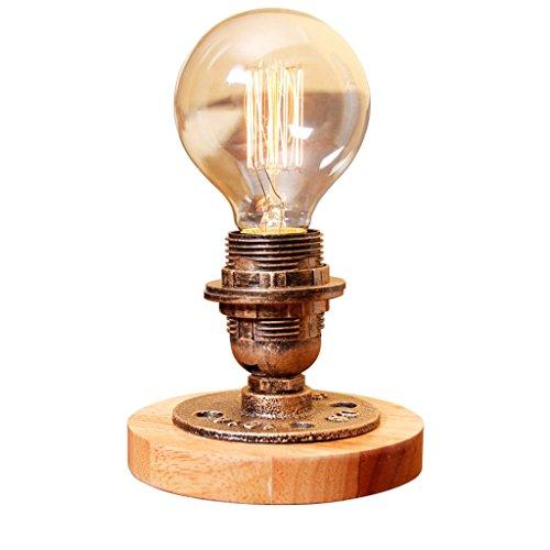 American Country kreative Holztisch Lampe, Retro-Glaskolben, industrielle Stil Schlafzimmer Bedside Studie Lampe, Bar Cafe Lampe, E27, Messing Farbe
