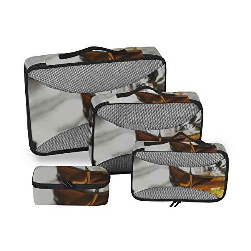 Carry-On-Pack-Würfel Bunte und schöne Weingläser Verpackung Organizer Carry-Gepäckverpackung Travel Organizer 4-teiliger Koffer-Organizer Leichte Gepäckaufbewahrungstasche