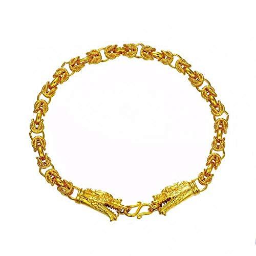 HMKLN 21Cm * 5Mm Dragón Pulsera Joyas Hombres China Antigua Mascota Diseños Originales Color Oro Puro