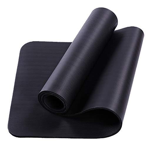 rutschfeste Schadstofffrei Yogamatte Gymnastikmatte Fitness Trainingsmatte Haltbare Fitnessmatte Premium Sportmatte Yoga Matte Mat Übung Gym with Strap,Schwarz