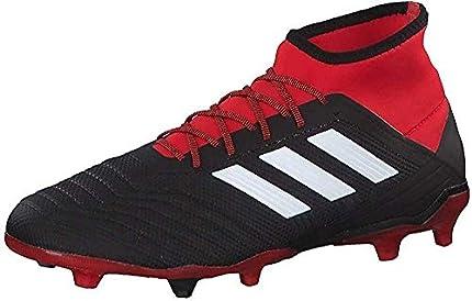 Adidas Predator 18.2 FG, Botas de fútbol Hombre, Negro (Negbás/Ftwbla/Rojo 001), 41 1/3 EU