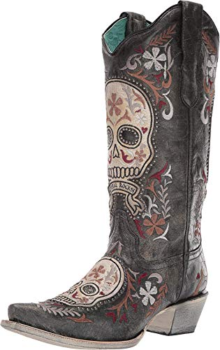Corral Ld Black / White Skull Overlay & Embroidery & Studs ,Size 6
