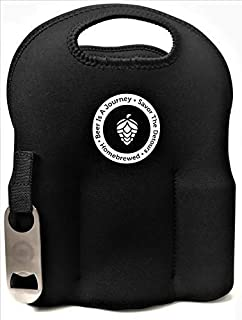 Neoprene Six (6) Pack Bottle Carrier With Removeable Bottle Opener Extra Thick Insulated Bottle Holder Keeps Drinks Cold~ Beer Carrier ~ Beer Is A Journey Six Pack Carrier