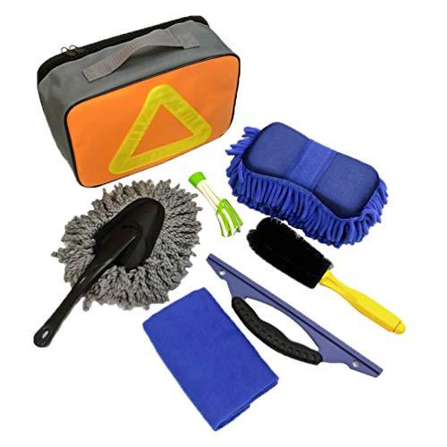 N / A Autoreinigungs Set Autopflege Autowaschset Mikrofasertücher Staubbürste Felgenbürste Wasserabzieher Reifenbürste (Orange, 7-teiliges/Set)