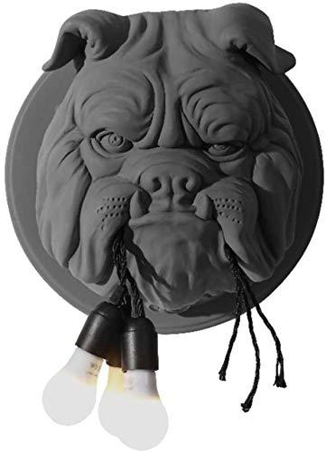 Creatieve wandlamp dierenkop voor honden Carving hars Warm licht E27 wandlamp Geschikt voor binnenbar en restaurant hotel familie woonkamer slaapkamer keuken gang