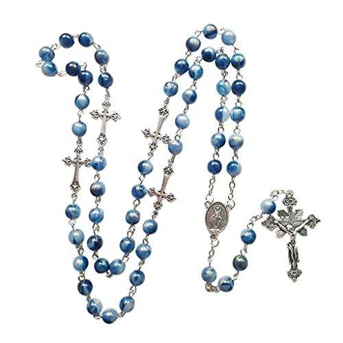 unknows Azul Acrílico Rosario Collar Largo Cruz Colgante Católico Joyería Regalo Collar religioso para hombres Cruz