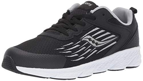 Saucony Unisex-Kid's Wind Lace Sneaker, Black, 5 Big Kid