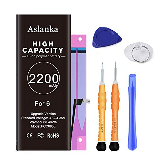 Aslanka Battery for Model iPhone 6, High Capacity 2600mAh Battery Replacement with Repair Tool Kit and Instructions -2 Years Warranty