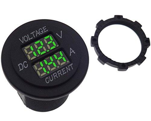 Einbau Voltmeter Amperemeter GRÜN Batterie Tester Anzeige PKW Motorrad 12/24 V A