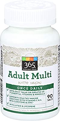 365 Everyday Value, Adult Multi with Iron, 90 ct