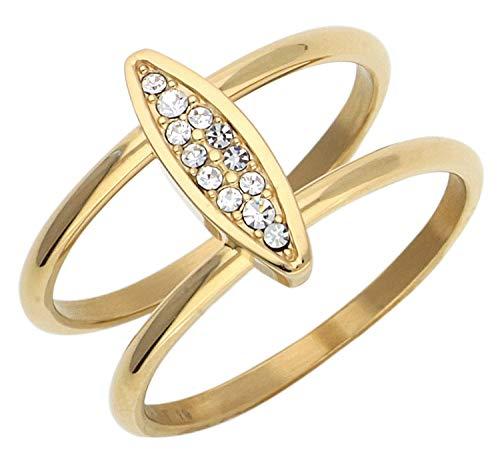 Esprit Damen-Ring Exclusive Edelstahl Glas weiß Brillantschliff - ESRG12856B180