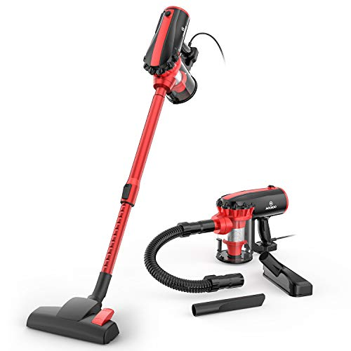 MOOSOO Vacuum Cleaner, 17KPa Strong Suction 4 in 1 Corded Stick Vacuum for Hard Floor with HEPA Filters, Hose