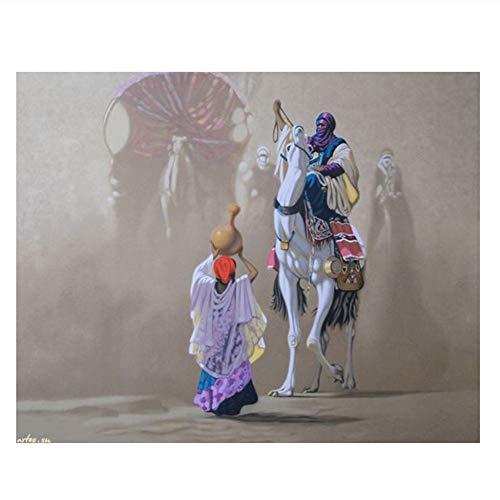 Klassische arabische Kleidung Figuren Pferd Wüste Landschaft Ölgemälde Leinwanddruck gedruckt auf Leinwand Wandkunst Dekoration Bild-24x32 Zoll No Frame
