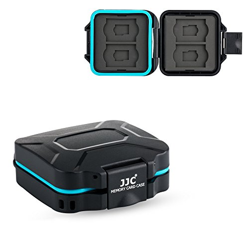 JJC Camera SD TF Micro SD Memory Card Case Holder Organizer Box for 4 SD & 4 TF Cards with a Card Removal Tool & Lanyard Water-Resistant