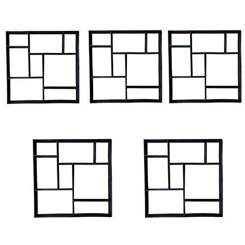 SAILUN® 5 x Betonform Pflastermacher Gießform für Garten Gehwegen Trittsteinen DIY Schalungsform (5 Stücke - Quadrat)