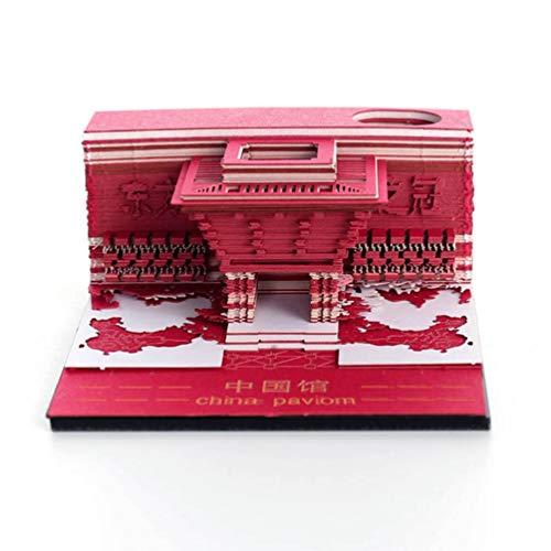 WNTHBJ Expo China-Pavillon Notenpapier, DIY Papierschnitzen kreatives Kunstwerk, sehr geeignet für Modelle zu sammeln, können Sie die Steigung Aufkleber reißen