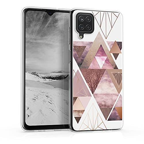 kwmobile Hülle kompatibel mit Samsung Galaxy A12 - Handyhülle Silikon Hülle - Glory Dreieck Muster Rosa Rosegold Weiß
