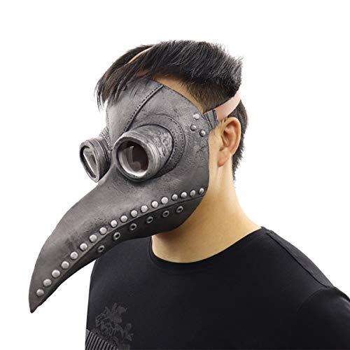 Mscara Mdico de la Peste de Halloween Props Disfraz Retro Aves de Nariz Larga Pico Steampunk Cosplay (Negro-A)