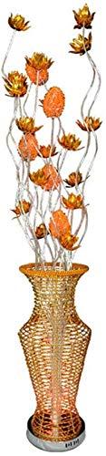 ZJJZ Lámpara de pie Moderna y Simple Tejido de Alambre de Aluminio Dorado Flor de Loto Forma de jarrón Lámpara de pie LED de atenuación de Tres Colores 1.5M con Interruptor de pie para Sala de es