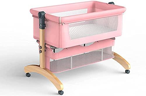 ZGYZ Cuna de Madera para bebé,Cuna de cabecera con Laterales de Malla,Cama para Dormir portátil para recién Nacidos,Cuna cómoda para bebés de 0 a 18 Meses