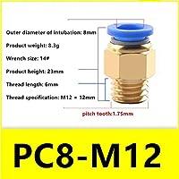 BXU-BG 5ピース/ロット型気管空気圧クイックプラグコネクタメトリック粗ねじ山PC8-M6 / M8 / M10 / M12 / M14 / M16 (Color : PC8 M12 X 1.75mm)