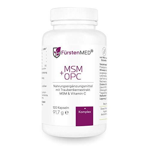FürstenMED® MSM 1420mg + OPC 427mg - Hochdosierter MSM+OPC Komplex mit Vitamin C - 120 Vegane Kapseln ohne Zusatzstoffe aus Deutschland