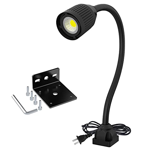 Led Work Light, Led Flexible Gooseneck Light, Drill Press Light 500 Lumen 120 Volt Fixed with Screws Industrial Lighting Work Lamp for Machine Tools and Lathe