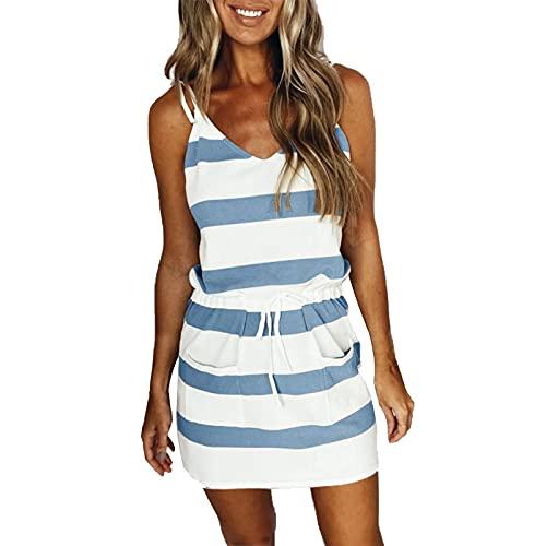 Ausschnitt Taille Kleid äRmellose Styling Kleid Mittellanger Sommerkleid Bedrucktes Knielanger Rock Loose Elegant Freizeitkleider Strandkleid Damen Sommerkleider BöHmisch Kleid