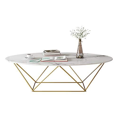 YIKE-Mesas de centro Mesa de Centro Ovalada de mármol Blanco, diseño geométrico, Carga Estable, Moderna y pequeña Mesa de té de Hierro Forjado, tamaño: 80 × 40 × 45 cm