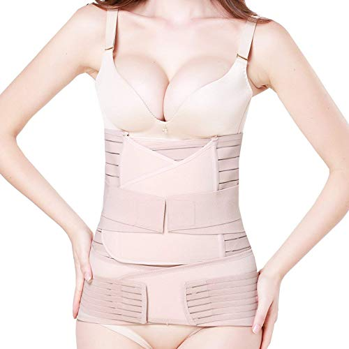 elebae 3 in 1 Postpartum Support Recovery Belly Wrap Shapewear Waist Pelvis Postnatal Slimming Belt (Skin Colour, XX-Large)