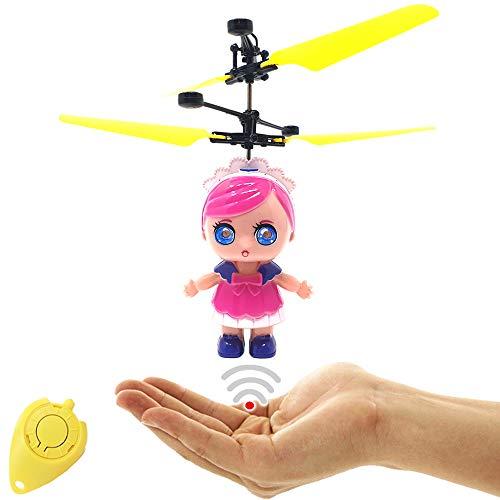 Crazy Freaky Doll LoLa Cute - Muñeca voladora por radiocontrol con ojos LED extra claros, fácil de controlar mediante el movimiento de la mano