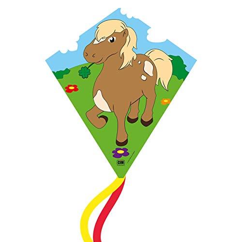 CIM Cerf-Volant monofil - Eddy-S Pony - pour Enfants à partir de 3 Ans - Dimensions : 50x56cm - INCL. Ligne de 40 ML et queues